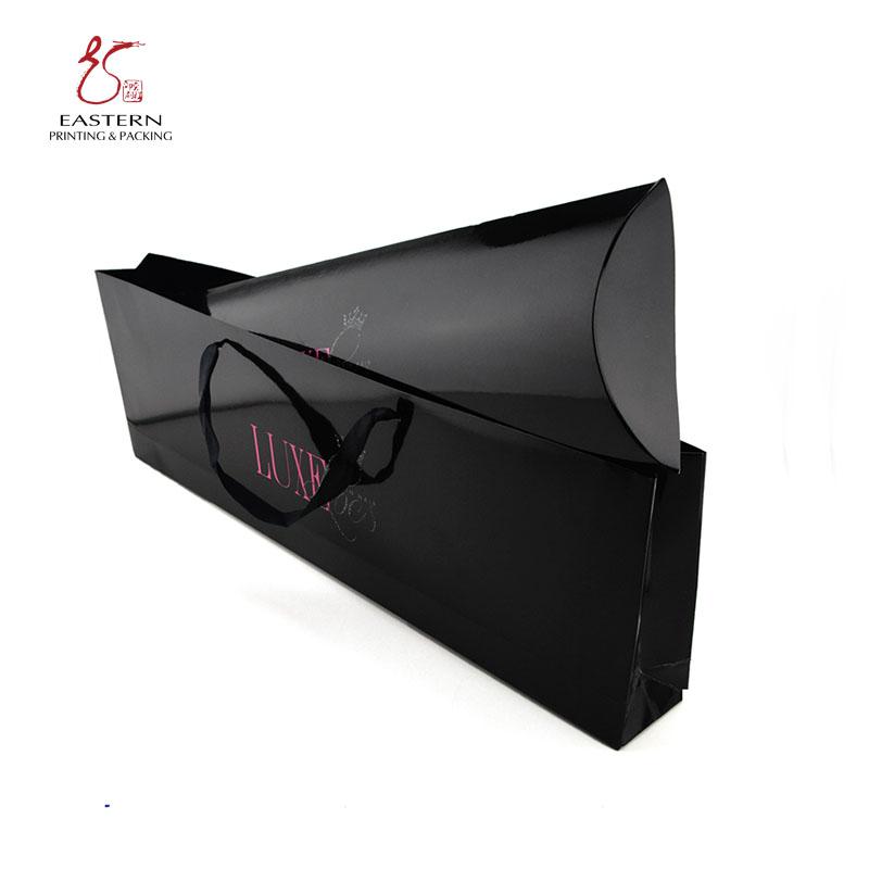 На заказ полноцветная печать черный картон бумага наращивание волос упаковочные коробки с веревкой