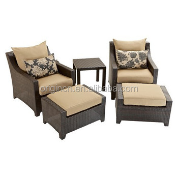 Resort Holiday Double Seat Wicker Recliner Chair Furniture Ratan Lounge Set  Outdoor