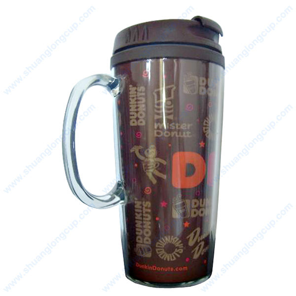 Personalied BPA free 16 OZ Photo Insert Travel Mug with Handle & Flip Top