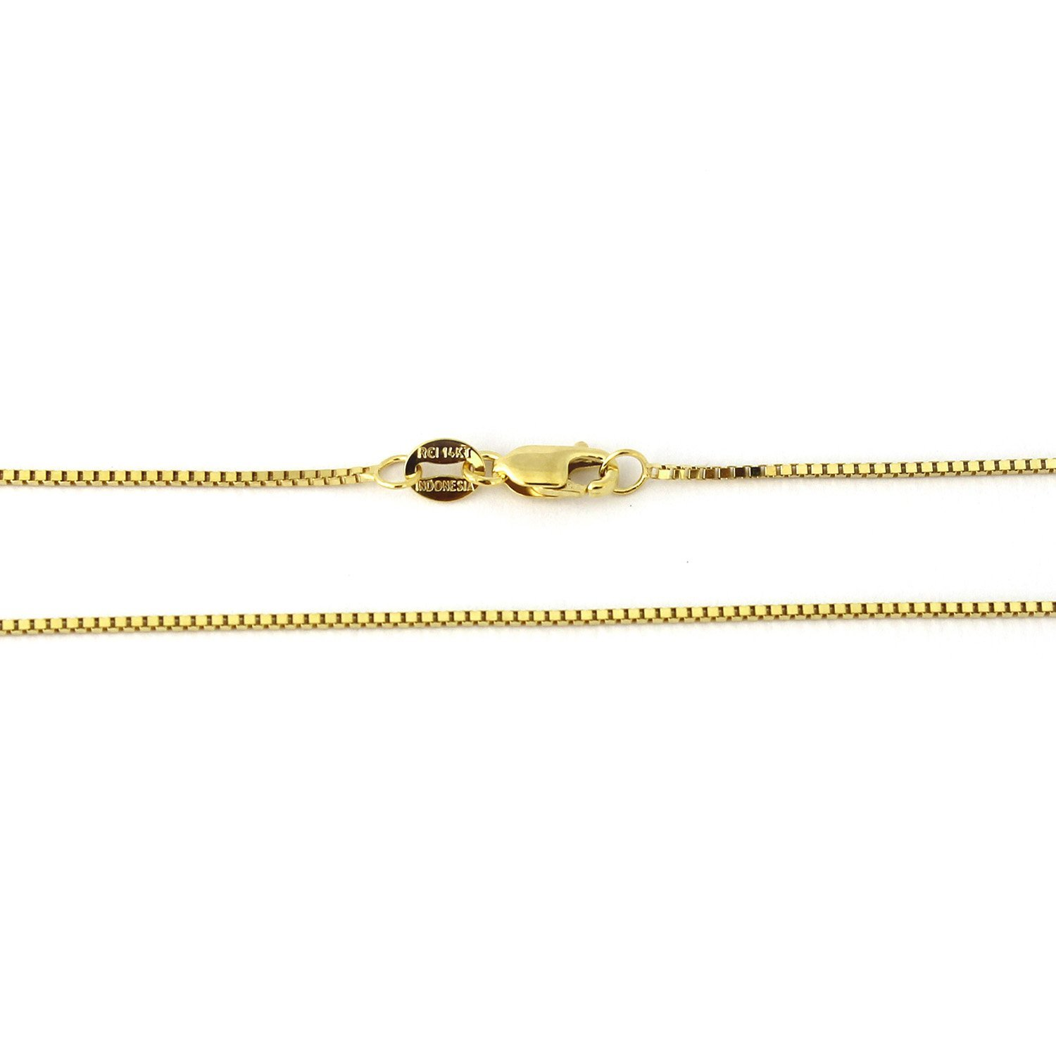 "14k Yellow, White or Rose Gold 0.80mm Box Chain Necklace, 13"" 16"" 18"" 20"" 22"" 24"" 30"""