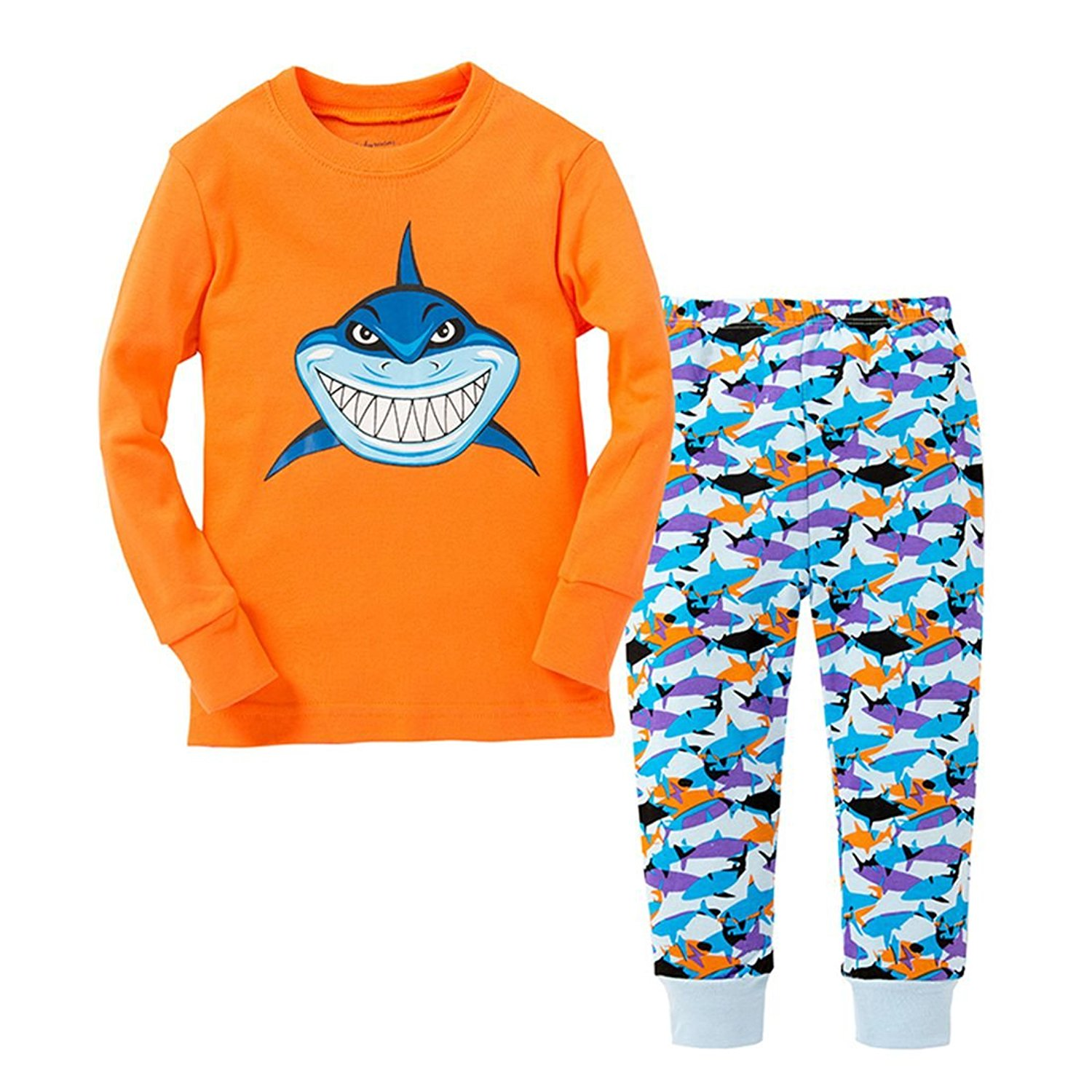 3a0488e5f2 Get Quotations · Boys Pajamas Shark Childrens Pjs Rib Long Sleeves Toddler Clothes  Clothes Set