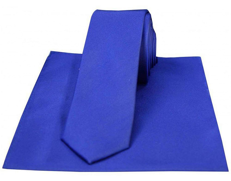 Azure Blue David Van Hagen Mens Matching Satin Tie and Handkerchief Set