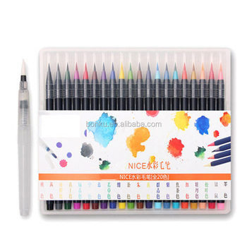 customized 20 PCS Color box pack branded art Painting drawing Watercolor Brush Pen