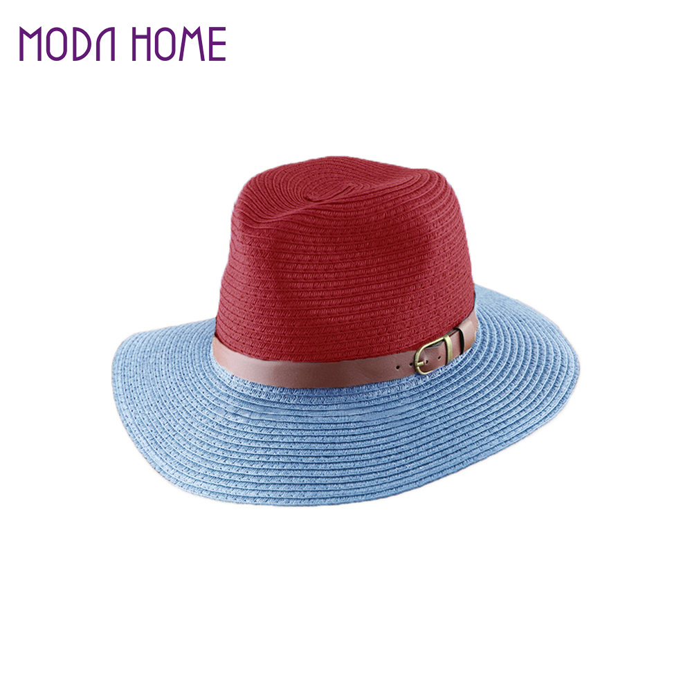 242ba778366b0 Korean Fashion Fedora Hat Leather Belt Color Block Panama Hat Beach Sun  Straw Hat Unisex 3