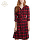 Red Black Plaid Shirt Dress Popular Style Women Dress In Cherry