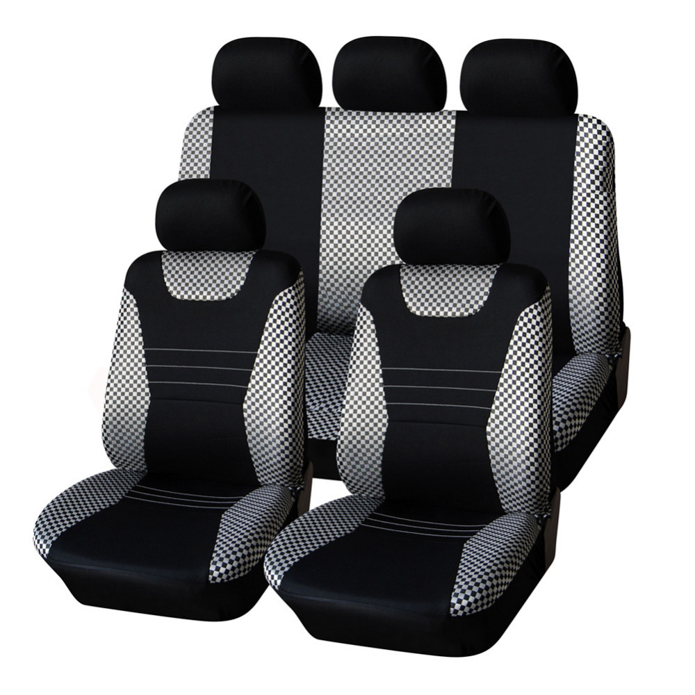 AUTOYOUTH Jacquard Fabric Car Seat Cover Set Sport Racing Design Universal Fits Most Seats Black Styling