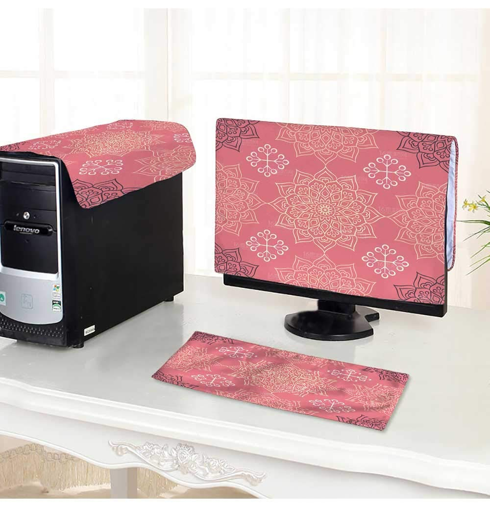 """PRUNUS Computer Monitor Dust Cover 3 Pieces Seamless Pattern Vintage Decorative Elements Hand Drawn Background Islam,Arabic,Indian Antistatic, Water Resistant /26"""""""