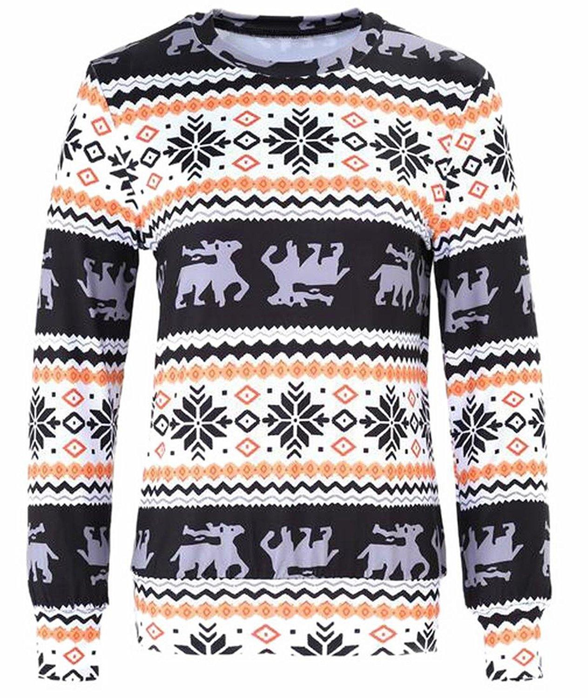 ONTBYB Womens Casual Christmas Printed Crewneck Long Sleeve Sweatshirt Pullover