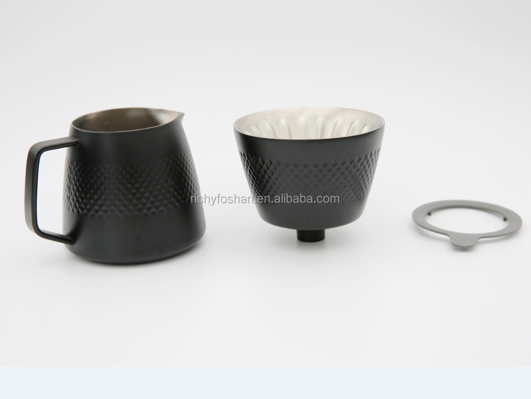 V60 coffee dripper set with filter stand and coffee server