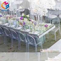 2019 new design clear acrylic round/rectangle wedding banquet dining table for sale
