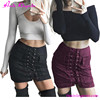 Autumn Winter Suede Lace Up High Waist Ladies Denim Pencil Girls Fancy Skirts With Lace