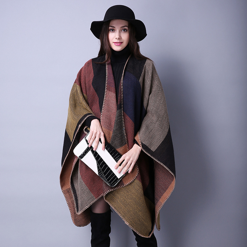 2017 women wool scarf check cape cashmere plaid poncho