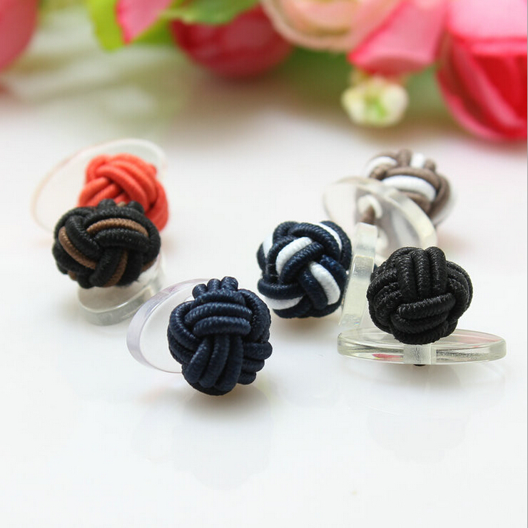 2017 Colorful elastic knot cufflink men fabric cufflink elastic cufflinks