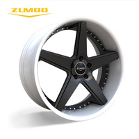 "Zumbo-A0008 Black+white(Lip) OEM New Design rims aluminium alloy with pcd 100-130 rotiform replica alloy wheel 20"" 22"""