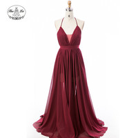 New design maxi Red Prom Dress red 2018 wedding Party Sexy Backless V-neck Evening Dress with Spaghetti Strap