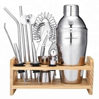 13Pieces High Quality 750ML Stainless Steel Cocktail Shaker Set With Stylish Bamboo Stand