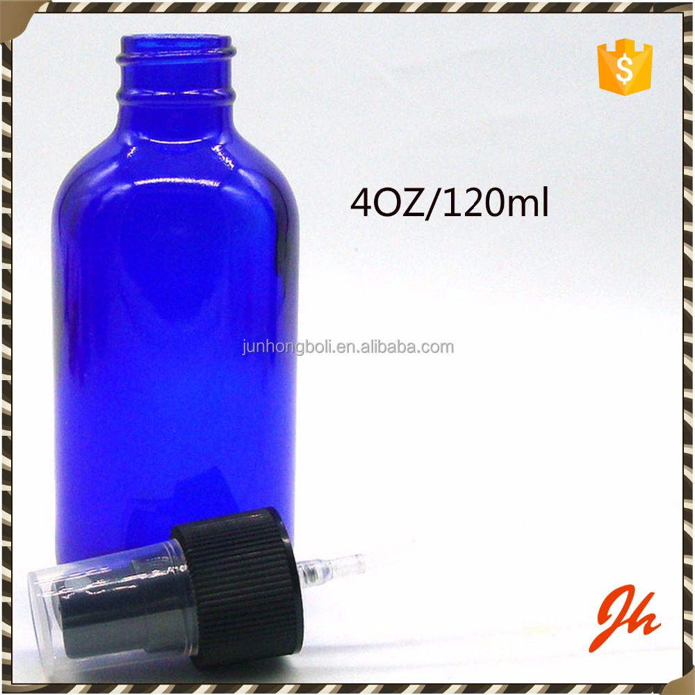 Cobalt blue 120ml/4oz glass bottles with fine/water mist spray tops/blue boston bottle in China