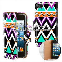 for iphone 5 aztec brand leather case (horizontal open)