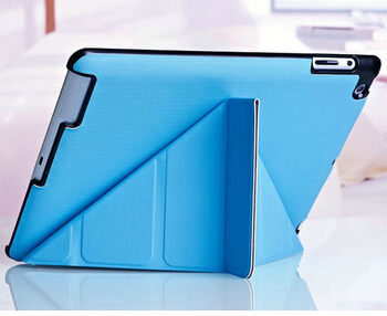 For iPad 4 iPad 3 iPad 2 Folding cover Magnetic Leather case with Sleep/Wake function Hard shell w/stand