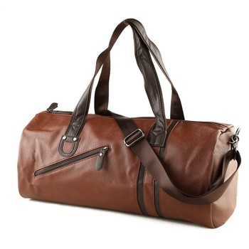 High Quality Pu Round Shape Roll Up Small Men Leather Travel Bag
