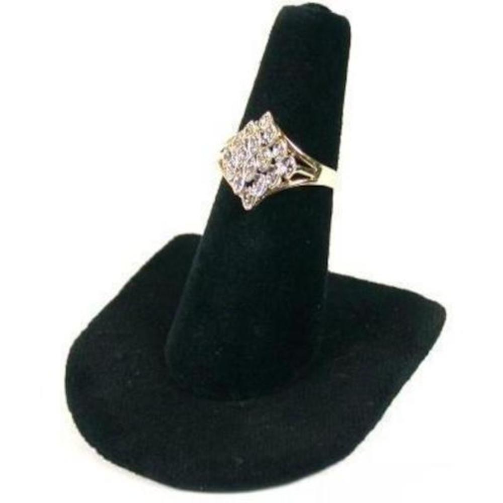 Black Velvet Ring Finger Jewelry Holder Showcase Display Stand