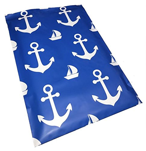 50- 10 x 13 Blue Nautical Anchor & sailboat Designer Poly Mailers Shipping Envelopes Boutique Custom Bags