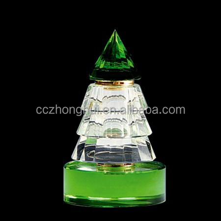 2016 China innotative design Christmas tree shaped crystal perfume bottle