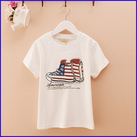 2016 Custom Newest fashion design fancy shoes cartoon printing kid t shirt