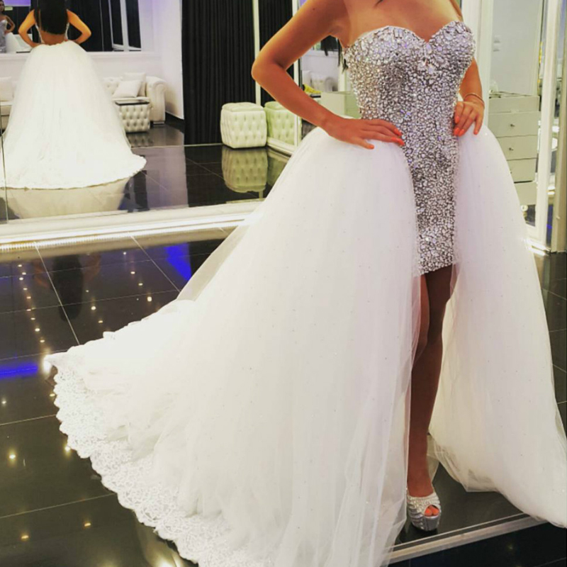Dresses With Removable Train: Women Beaded Crystal 2 Two Piece Detachable Train Prom