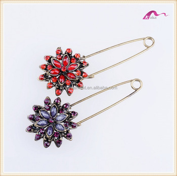 Fashion Design Crystal Flower Hijab Pins Brooch For Scarf