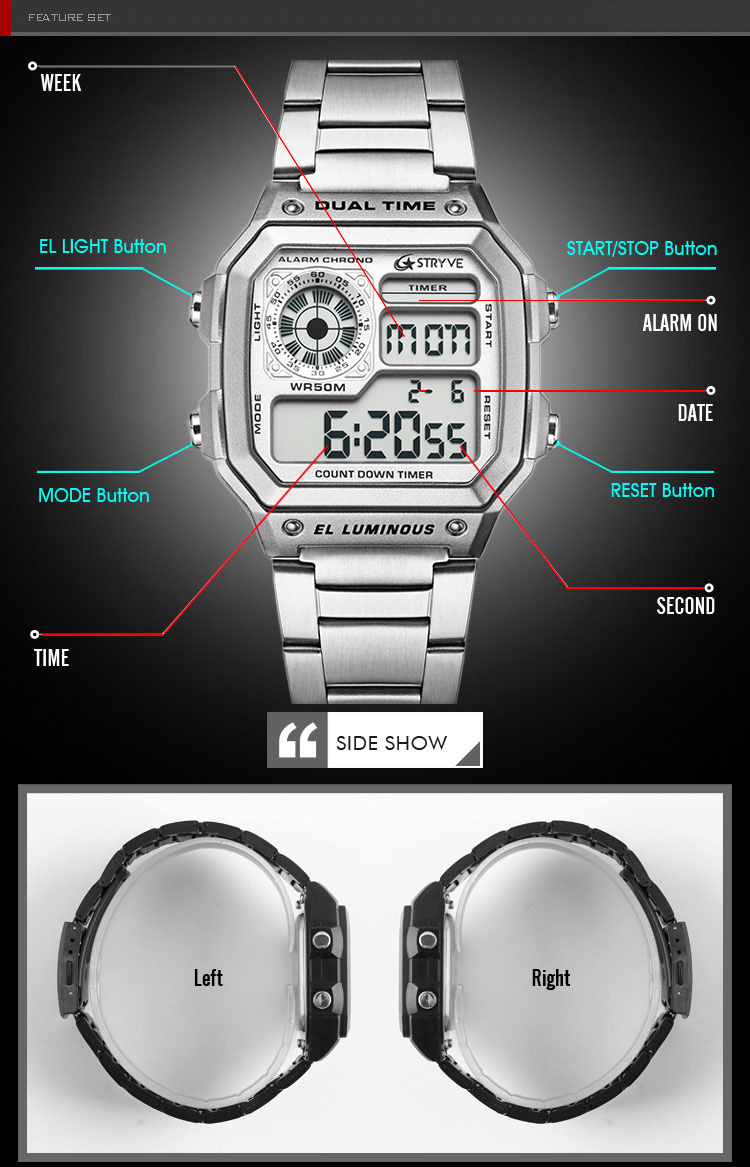 STRYVE new stylish high-end design electronic multifunctional digital display sports men's waterproof watch