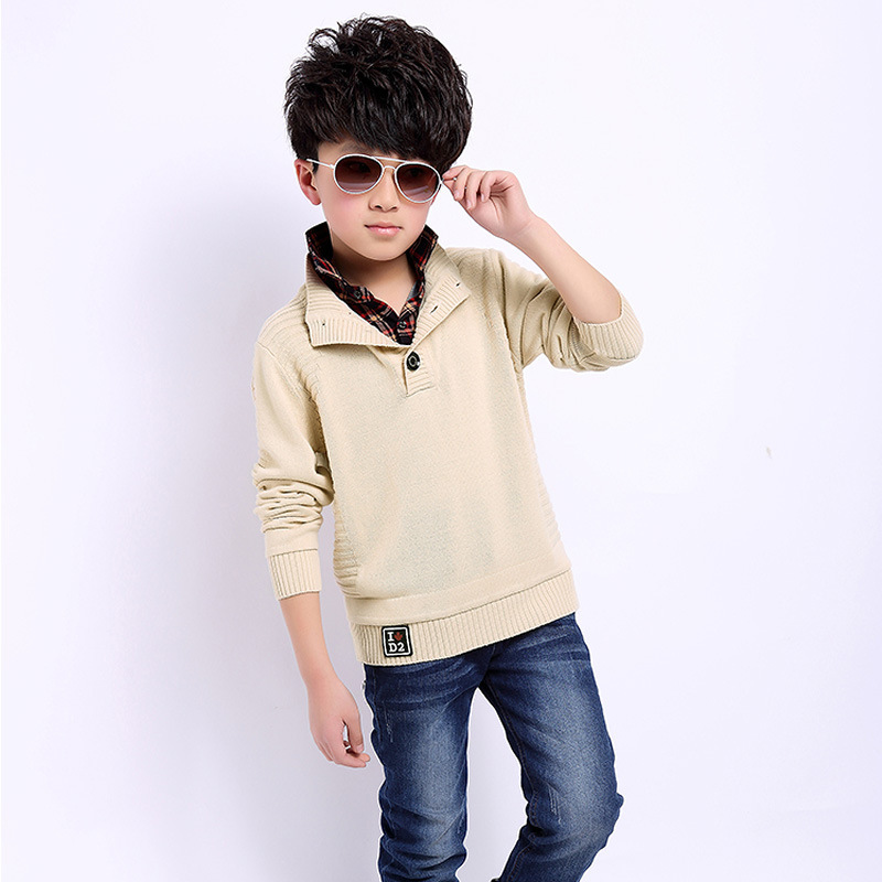 2014 child cashmere sweater boy big virgin wool sweater shirt collar sweater Kids winter models