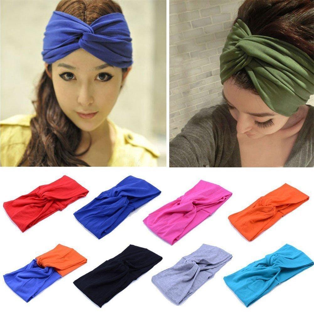 3e831f452b4 Wowlife Contrast Color Women Girls Wash the Face Headbands Headwrap Hair  Band Yoga Turban Twist Headband