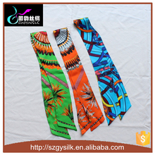 Printed Custome Hair Band 100% Chinese silk scarf