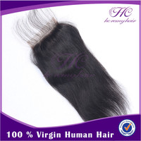 Easy And Simple To Handle Human Weave Straight Hair Silk Lace Closures Pieces Free Shipping