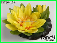 Artificial Floating Lotus Flower Yellow Water Lilies ( 12 flowers )