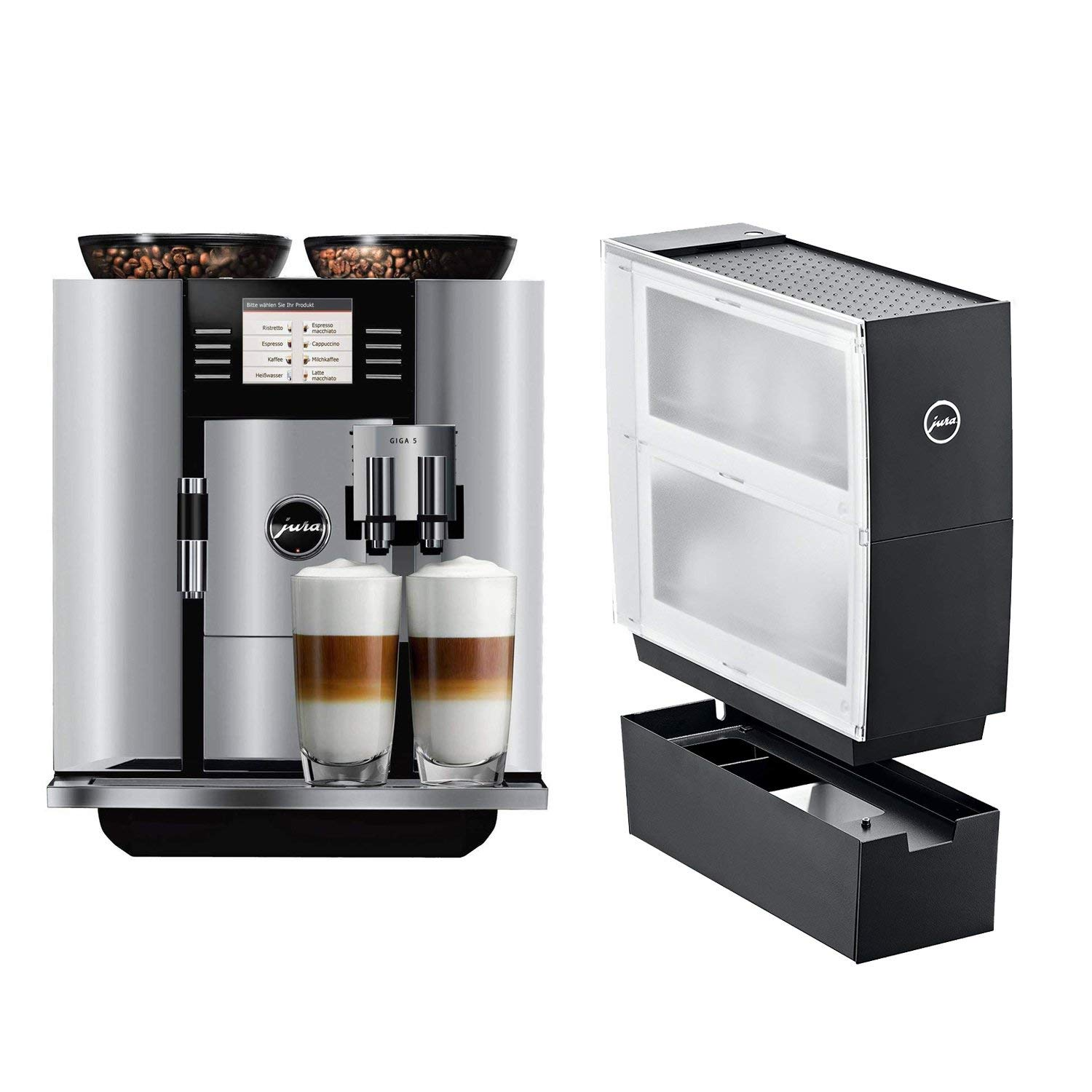 Jura 13623 Giga 5 Automatic Coffee Machine, Aluminum with Jura Black Cup Warmer Accessory Drawer