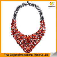 2016 Fashion Necklace 3 Color Chain Chunky Statement Necklace Pendant Jewelry Blue Crystal Choker Necklace For Women Accessories
