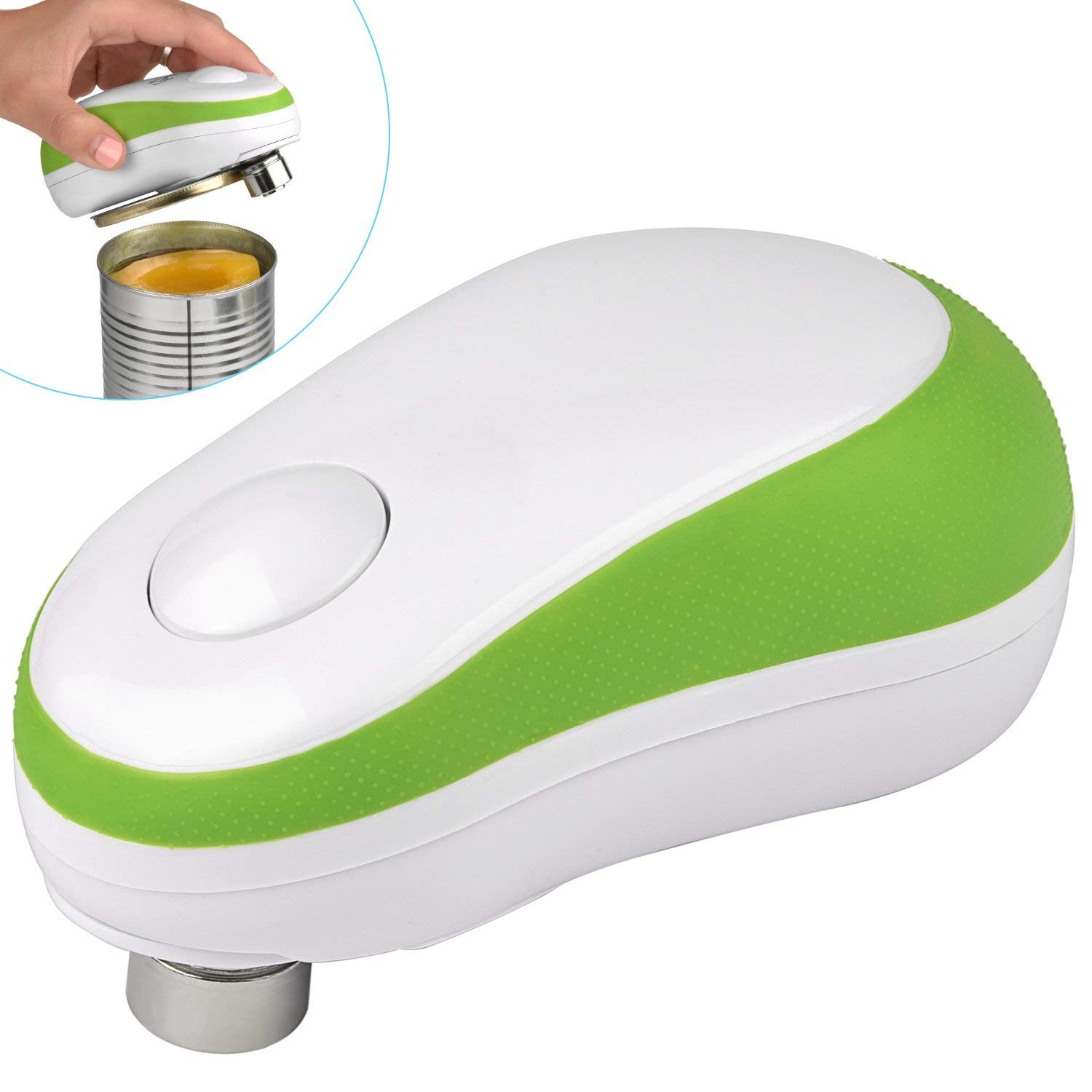 Electric Can Opener, Starew Automatic Can Opener, Restaurant can opener,One Button Start & Auto Stop, Safety Tin Opener with Smooth Edge Left (green)