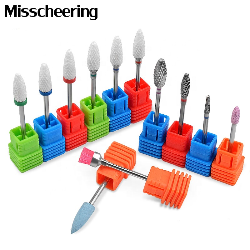 Misscheering Diamond Nail Drill Bits Ceramic Milling Cutter Polish Rotary Burr Cuticle Clean Brush Electric Machine Accessories
