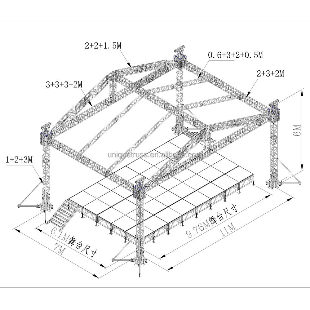 Portable Lighting Truss,Aluminum Truss,Roof Truss For Stage Roof System -  Buy Portable Lighting Truss,Stage Roof,Roof Truss For Stage System Product