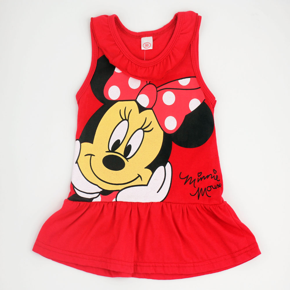 2015 Spring Summer Minnie Children Cute Princess Dresses Baby Girl Dress Fashion Cartoon Clothing 2 Colors