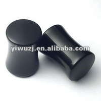 Double flare hematite classic ear plug organic body jewelry, stone flesh tunnel/(ear expander) body Piercing jewelry