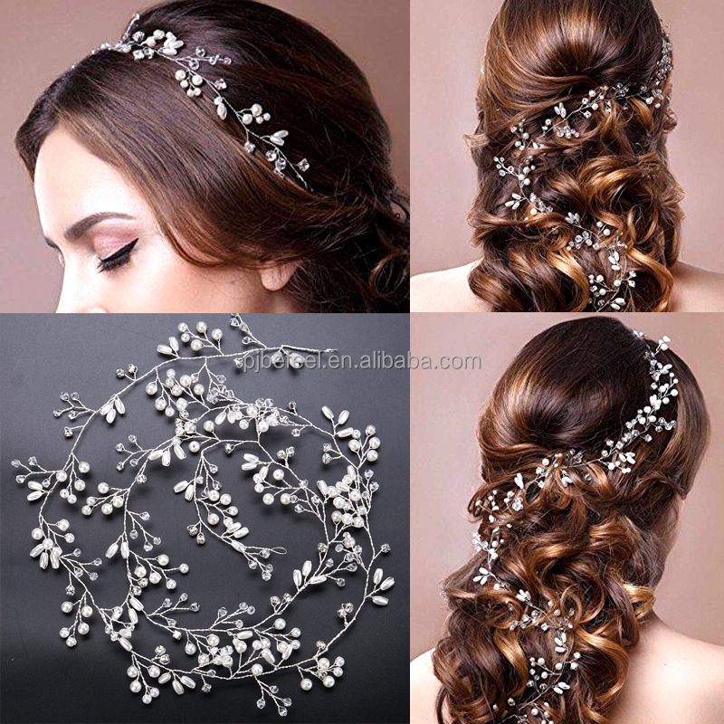 Handmade Amzon hot sale 1M CZ & pearl hairband hair accessories for bride wedding
