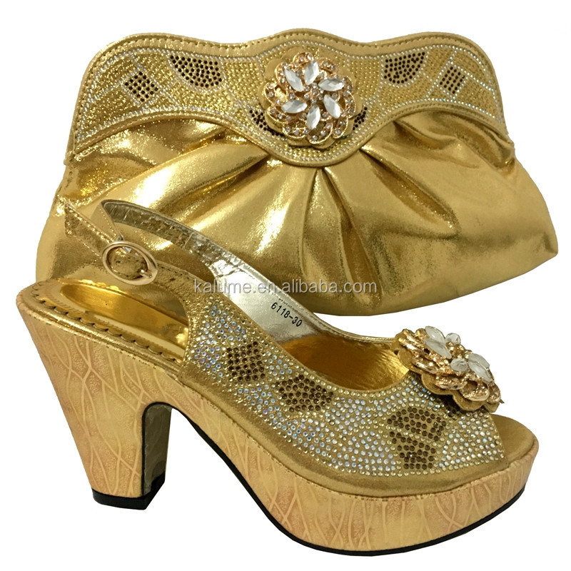 Gold Fashion Women Rhinestone Sandals Platform Wedge Sandals Italian Shoes With Matching Bags 6118-30