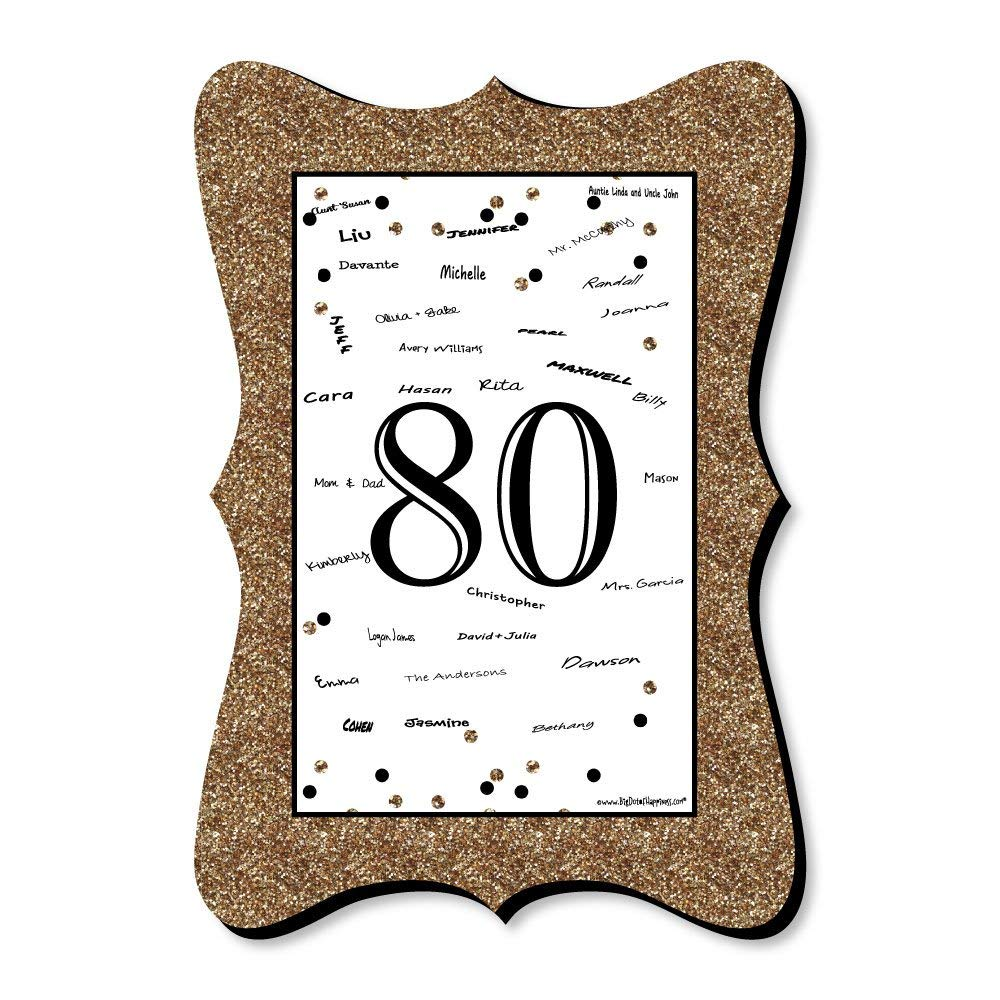 dcc3b4193bd Big Dot of Happiness Adult 80th Birthday - Gold - Unique Alternative Guest  Book - Birthday Party Signature Mat