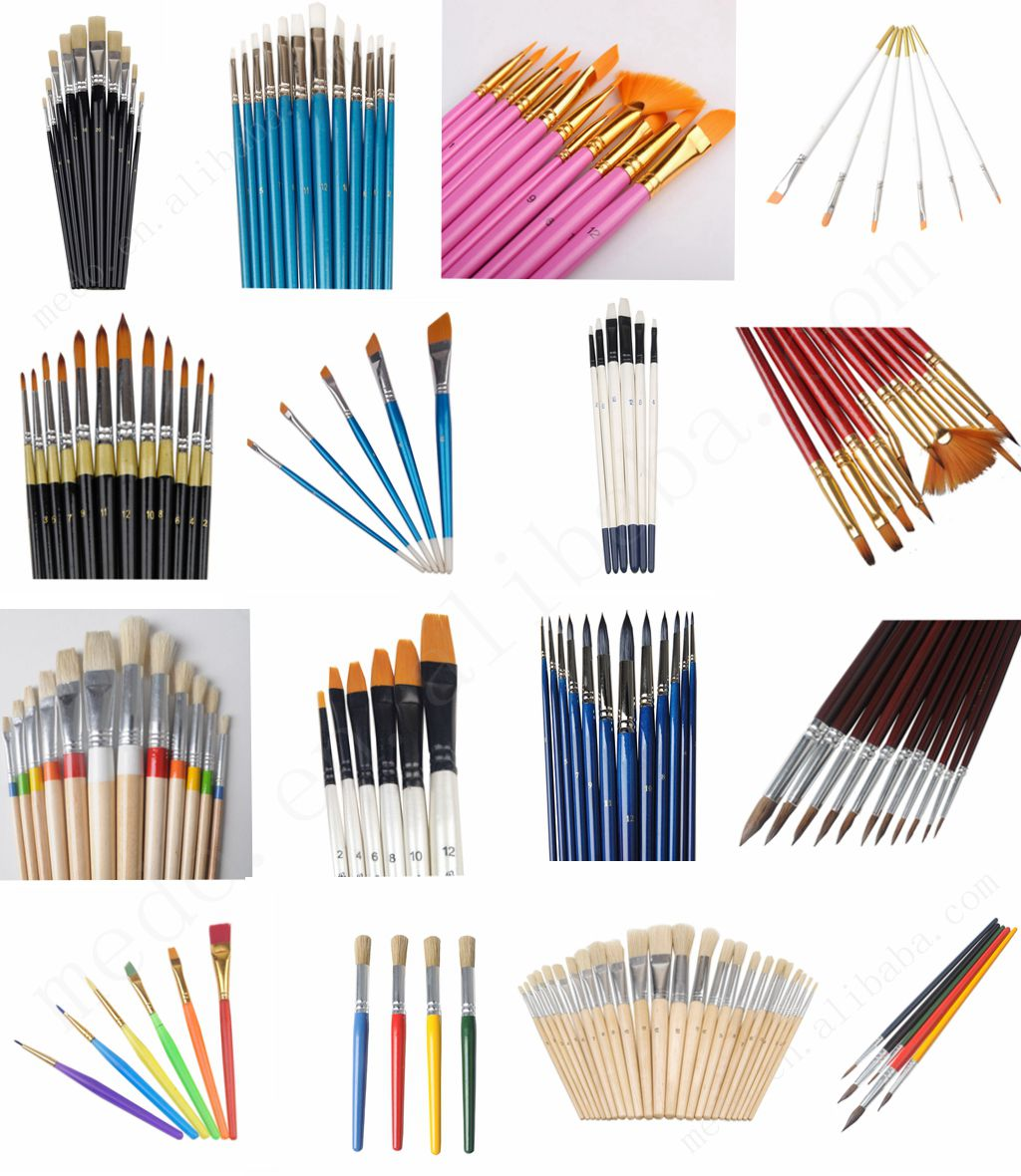 Cheap bristle paint brush for kids short wood handle paint brushes