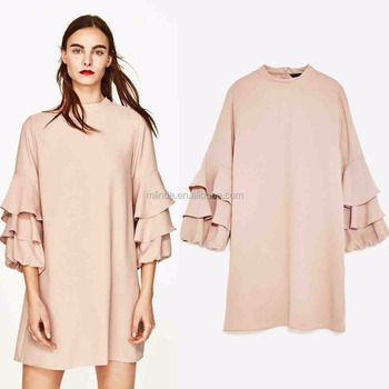 Fashion Women Frilled Long Sleeve Dress for Girls Casual Style Dresses Wholesale Custom Made in China Clothing Manufacturer