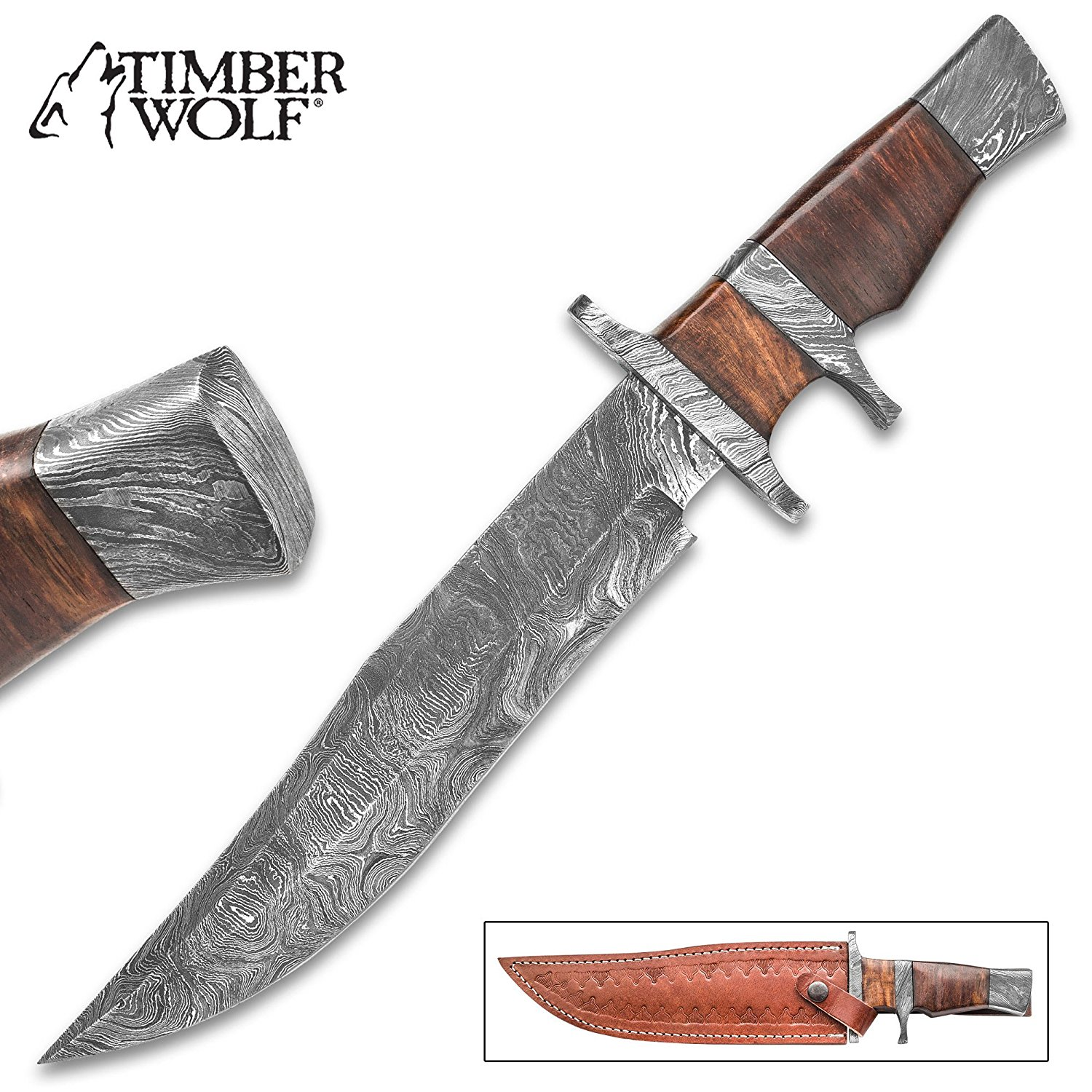 """Timber Wolf Ascension Bowie/Fixed Blade Knife - Hand Forged Damascus Steel - Sub Hilt; Heartwood - Genuine Leather Sheath - Collecting Collection Display Outdoors Hunting Camping - 14"""""""