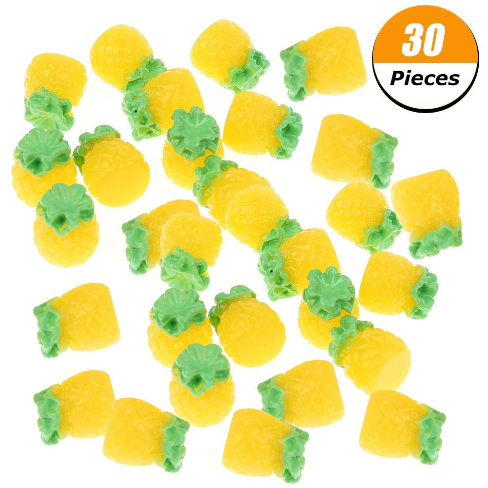30 Pieces Pineapple Slime Charms Beads, Cute Resin Slime Beads Supplies for DIY Crafts Making Party Decoration Favors
